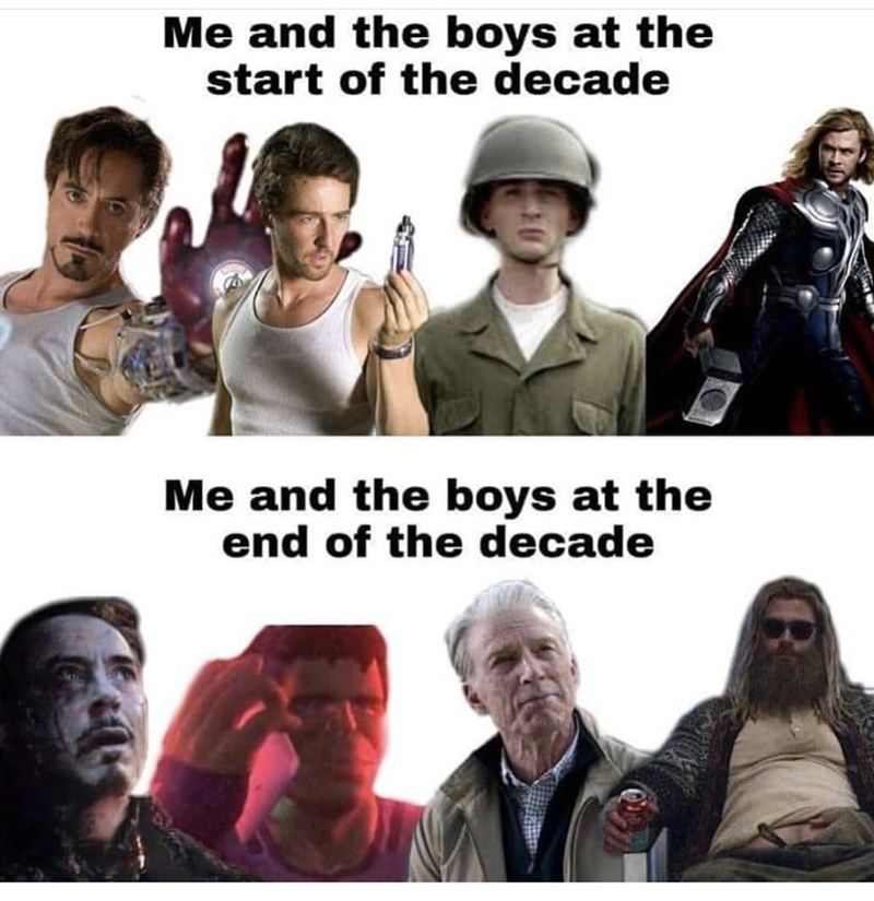People - Me and the boys at the start of the decade Me and the boys at the end of the decade