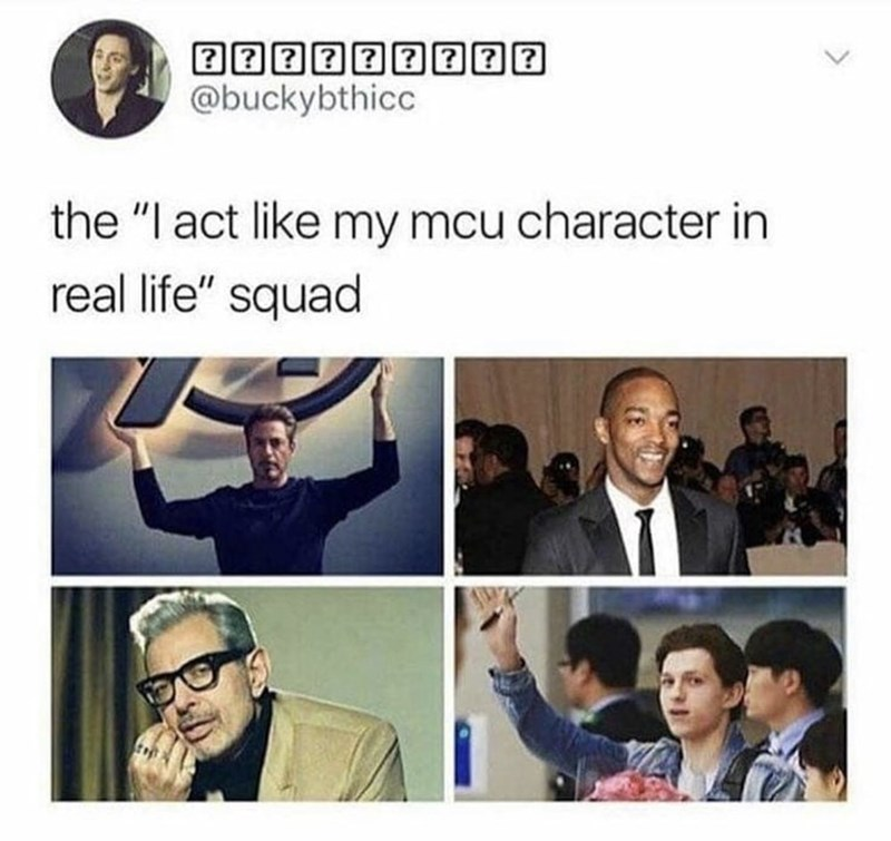 "People - @buckybthicc the ""I act like my mcu character in real life"" squad"