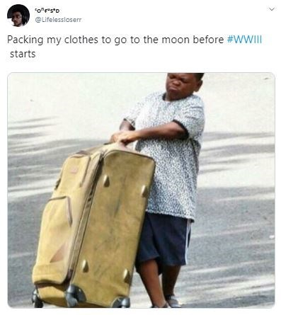 """Bag - """"o""""""""s*D @Lifelessioserr Packing my clothes to go to the moon before #WWIII starts"""