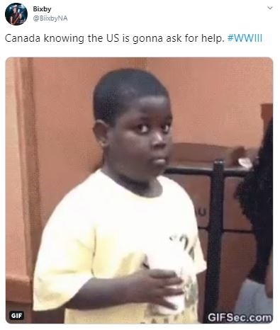 Forehead - Bixby @BiixbyNA Canada knowing the US is gonna ask for help. #WII GIF GIFSEC.com