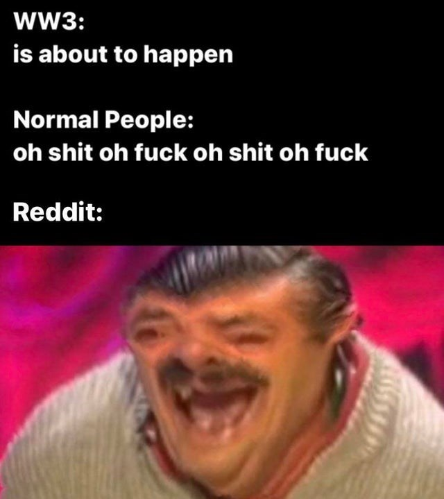 Facial expression - ww3: is about to happen Normal People: oh shit oh fuck oh shit oh fuck Reddit: