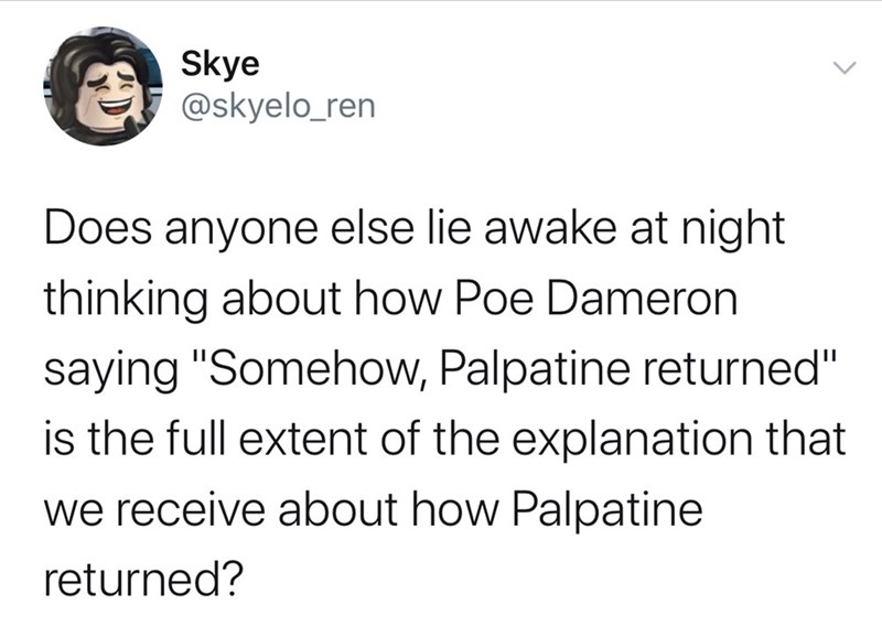 "Text - Skye @skyelo_ren Does anyone else lie awake at night thinking about how Poe Dameron saying ""Somehow, Palpatine returned"" is the full extent of the explanation that we receive about how Palpatine returned?"