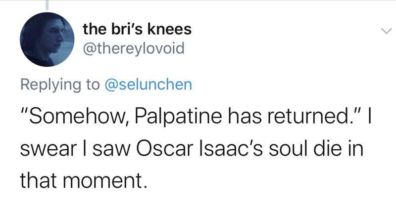 "Text - the bri's knees @thereylovoid Replying to @selunchen ""Somehow, Palpatine has returned."" I swear I saw Oscar Isaac's soul die in that moment."