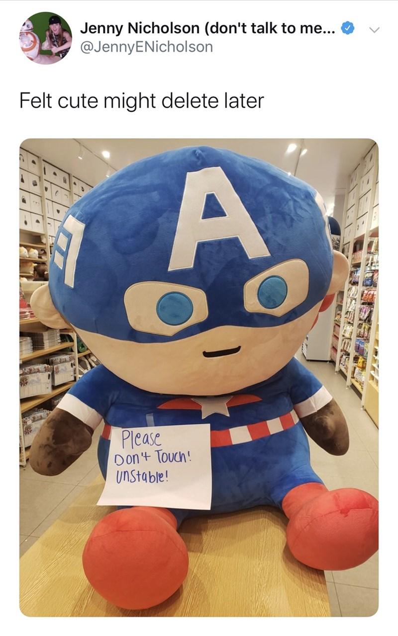 Stuffed toy - Jenny Nicholson (don't talk to me... @JennyENicholson Felt cute might delete later Please Don'+ Touch! UNStable! E.D
