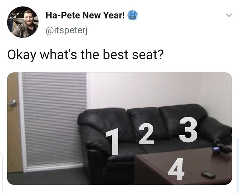 Product - Ha-Pete New Year! @itspeterj Okay what's the best seat? 1 2 3 4