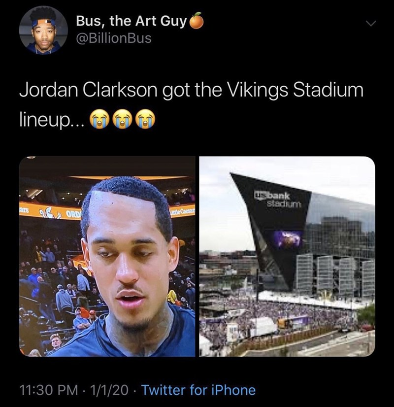 Sky - Bus, the Art Guy @BillionBus Jordan Clarkson got the Vikings Stadium lineup.. usbank stadium ars ORD ttle Caesan 11:30 PM · 1/1/20 · Twitter for iPhone