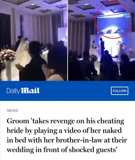 Photo caption - Daily Mail FOLLOW NEWS Groom 'takes revenge on his cheating bride by playing a video of her naked in bed with her brother-in-law at their wedding in front of shocked guests'