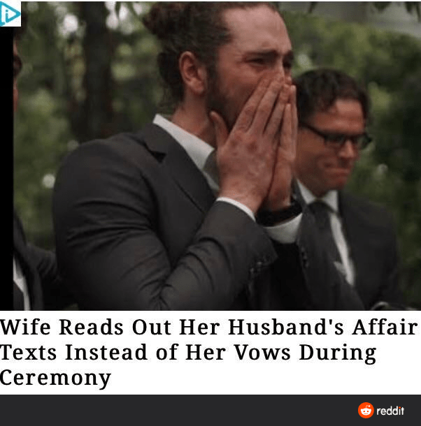 Text - Photo caption - Wife Reads Out Her Husband's Affair Texts Instead of Her Vows During Ceremony reddit