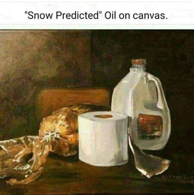 "Still life - ""Snow Predicted"" Oil on canvas."