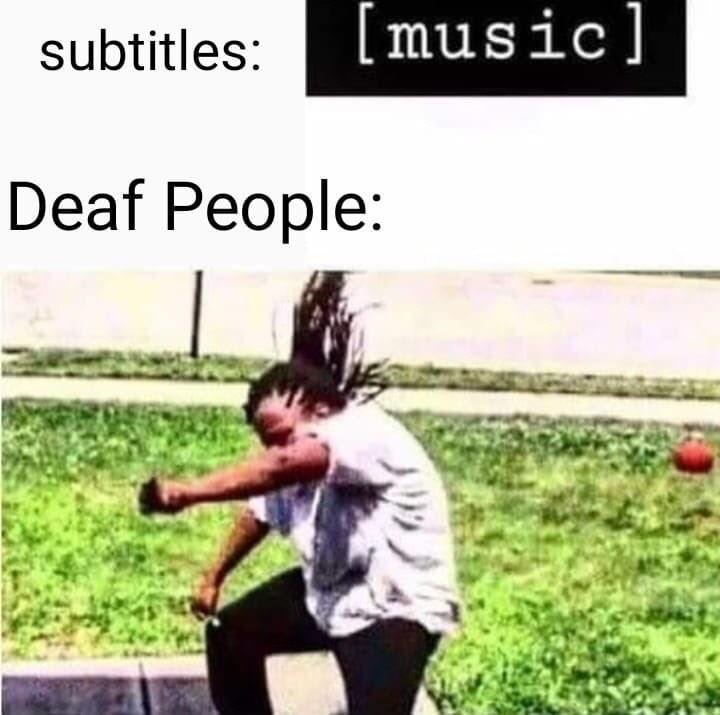 Text - [music] subtitles: Deaf People: