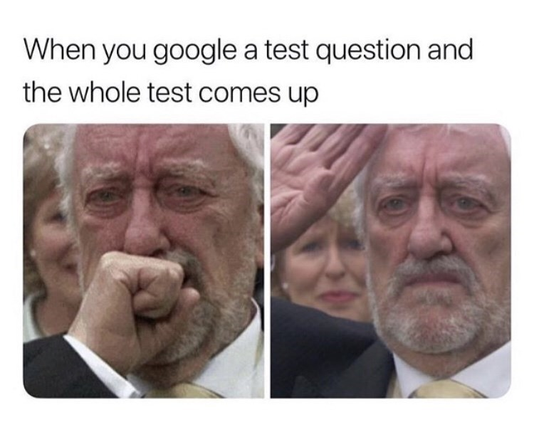 Face - When you google a test question and the whole test comes up