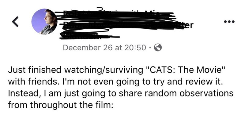 Guy S Facebook Review Of Cats Is The Best We Ve Seen Yet Memebase Funny Memes
