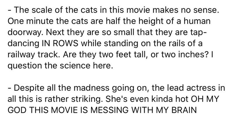 Text - - The scale of the cats in this movie makes no sense. One minute the cats are half the height of a human doorway. Next they are so small that they are tap- dancing IN ROWS while standing on the rails of a railway track. Are they two feet tall, or two inches? I question the science here. - Despite all the madness going on, the lead actress in all this is rather striking. She's even kinda hot OH MY GOD THIS MOVIE IS MESSING WITH MY BRAIN