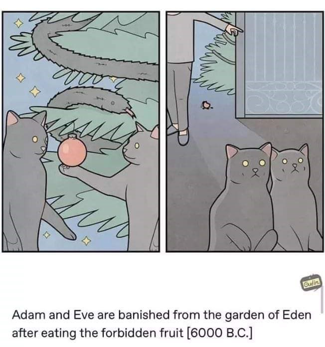 Cartoon - Gulin Adam and Eve are banished from the garden of Eden after eating the forbidden fruit [6000 B.C.]