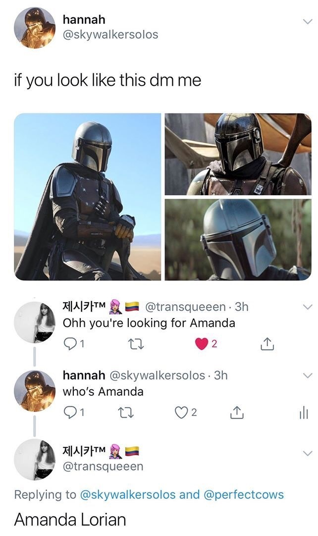 Helmet - hannah @skywalkersolos if you look like this dm me @transqueeen · 3h Ohh you're looking for Amanda 제시카TM hannah @skywalkersolos · 3h who's Amanda ili 2 제시카TM @transqueeen Replying to @skywalkersolos and @perfectcows Amanda Lorian