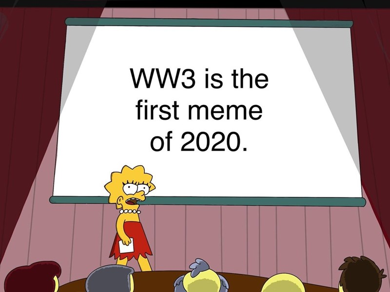 Cartoon - WW3 is the first meme of 2020.