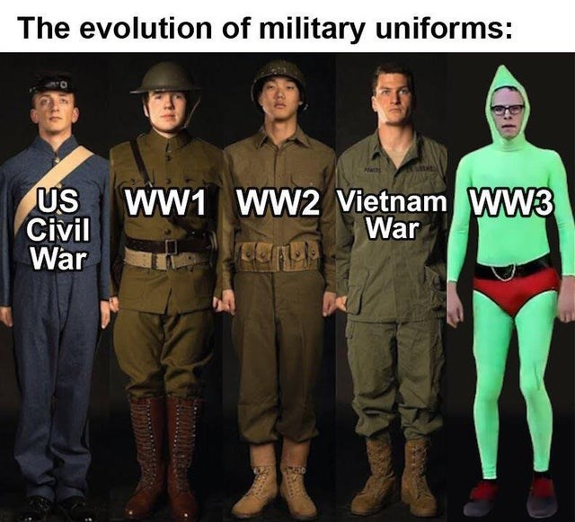 Team - The evolution of military uniforms: US Civil War WW1 WW2 Vietnam WW3 War