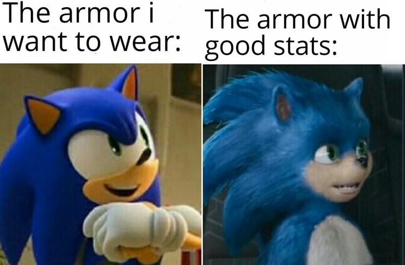 Sonic the hedgehog - The armor i The armor with want to wear: good stats: