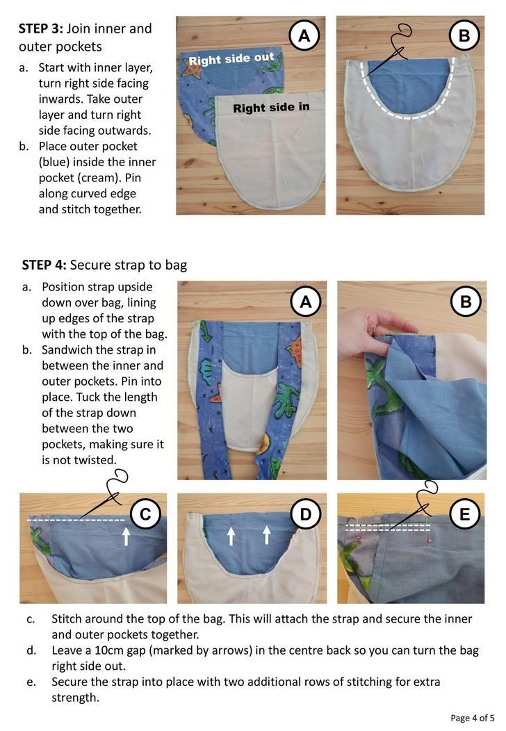 Denim - STEP 3: Join inner and outer pockets Right side out a. Start with inner layer, turn right side facing inwards. Take outer Right side in layer and turn right side facing outwards. b. Place outer pocket (blue) inside the inner pocket (cream). Pin along curved edge and stitch together. STEP 4: Secure strap to bag a. Position strap upside down over bag, lining up edges of the strap with the top of the bag. b. Sandwich the strap in (A) between the inner and outer pockets. Pin into place. Tuck