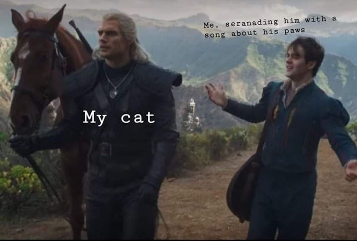 Geralt and Jaskier from The Witcher as a cat and his owner serenading him with a song about his paws