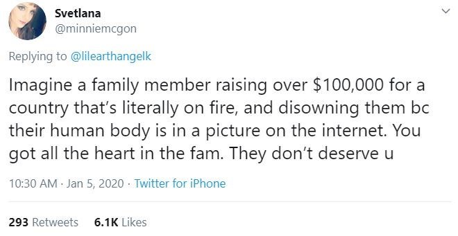 Text - Svetlana @minniemcgon Replying to @lilearthangelk Imagine a family member raising over $100,000 for a country that's literally on fire, and disowning them bc their human body is in a picture on the internet. You got all the heart in the fam. They don't deserve u 10:30 AM Jan 5, 2020 - Twitter for iPhone 6.1K Likes 293 Retweets