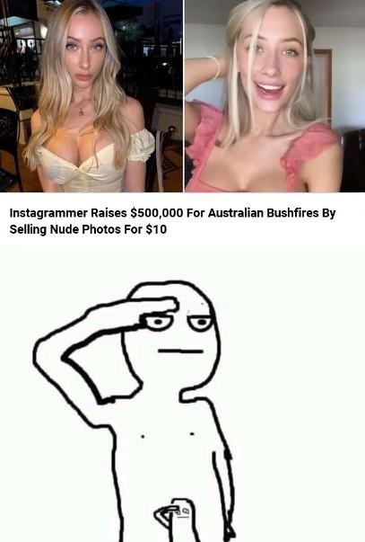 Text - Face - Instagrammer Raises $500,000 For Australian Bushfires By Selling Nude Photos For $10