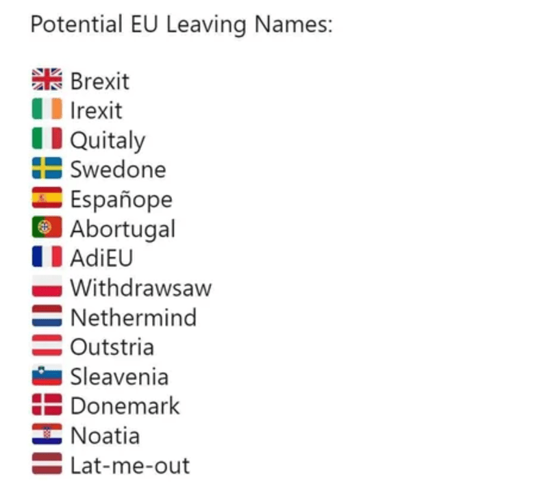Text - Potential EU Leaving Names: 张Brexit O Irexit Quitaly E Swedone Españope O Abortugal AdiEU Withdrawsaw Nethermind Outstria Sleavenia Donemark Noatia Lat-me-out
