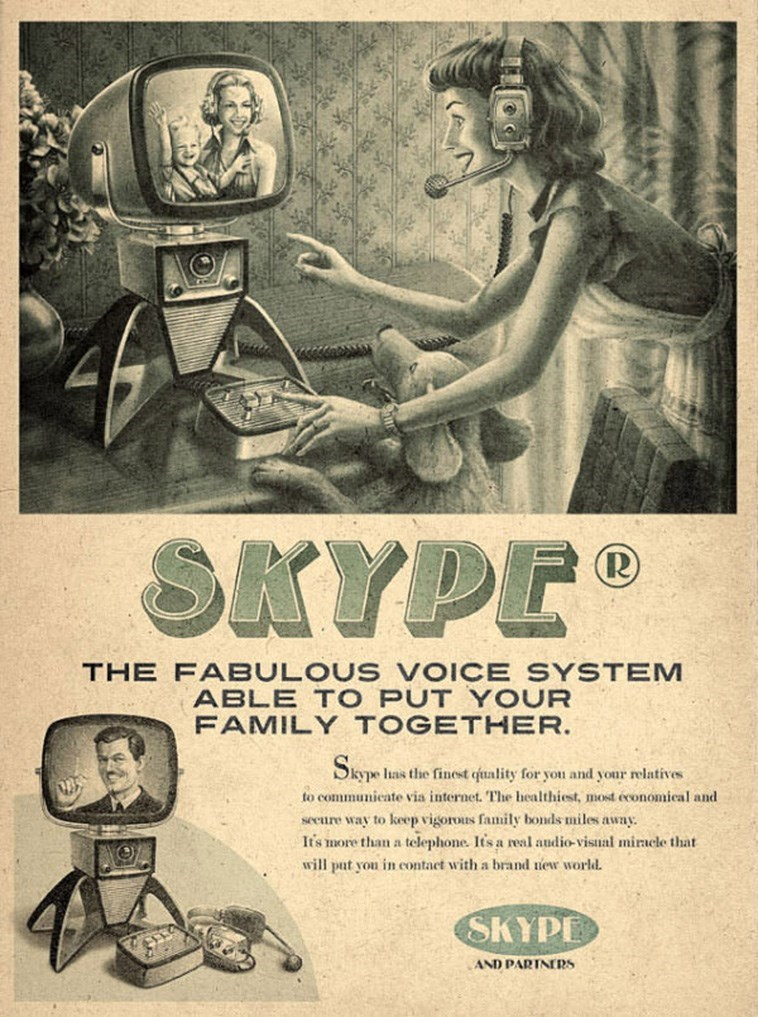 Vintage advertisement - SKYPE THE FABULOUS VOICE SYSTEM ABLE TO PUT Y OUR FAMILY TOGETHER. Skype las the finest quality for yon and your relatives to communicate via internet. The healthiest, mosd economical and secure way to keep vigorous family bonds miles away. It's more than a telephone. It's a real audio-visual miracle that will put vou in contact with a brand newr world. SKYPE AND PARINERS