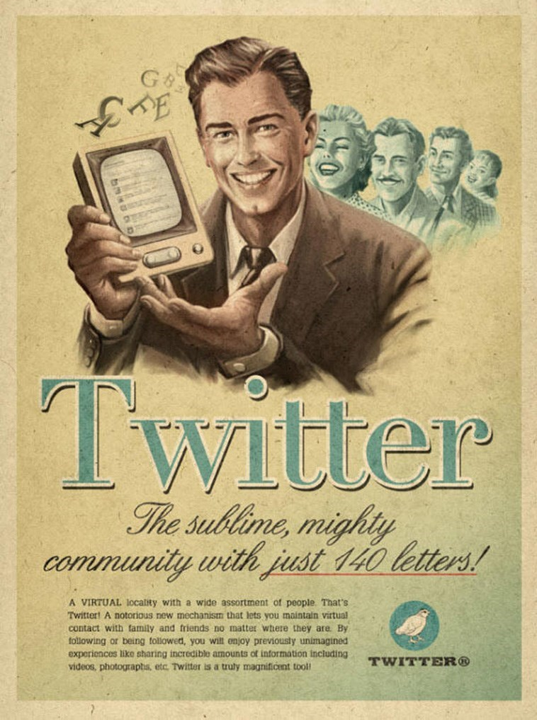 Vintage advertisement - G& Twitter The sublime, mighty community with just 140 letters! A VIRTUAL 1locality with a wide assortment of people. That's Twittert A notorious new mechanism that lets you maintain virtual contact with family and friends no matter where they are By following or being tollowed, you wilt enjoy previously unimagined experiences liko sharing incredible amounts of information including videos, photographs, etc. Twitter is a truly magnificent tool TWITTER®
