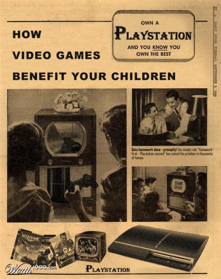 "Camera - OWN A PLAYSTATION HOW AND YOU KNOW YOU VIDEO GAMES OWN THE BEST BENEFIT YOUR CHILDREN Gets homewark done -promptlyl the simple nde ""Hamework first Paystation secand has solved the problem in thousands of homes SAME OVER WARHAWK OR FIGHT NIGH Weriles Wartloo PLAYSTATION S7 O DAILY NEWR TUESDAY, SEPTEMBER 1950"