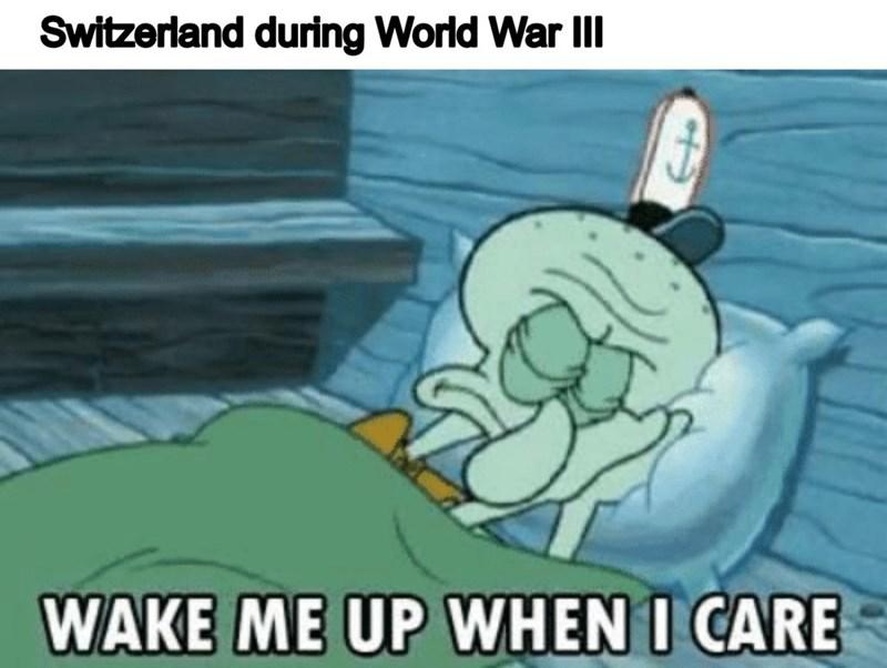 Cartoon - Switzerland during World War III WAKE ME UP WHEN I CARE