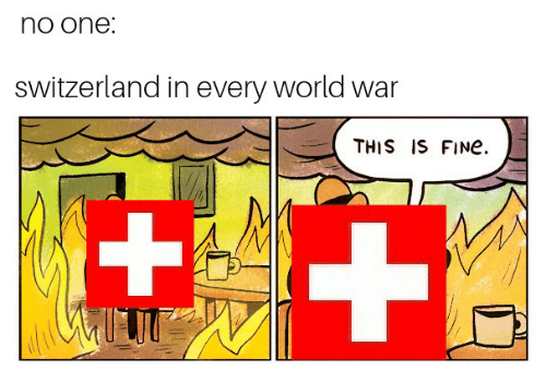 Text - no one: switzerland in every world war THIS IS FINE. +1