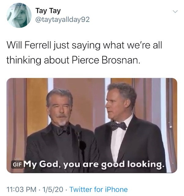 Text - Tay Tay @taytayallday92 Will Ferrell just saying what we're all thinking about Pierce Brosnan. GIF My God, you are good looking. 11:03 PM 1/5/20 Twitter for iPhone