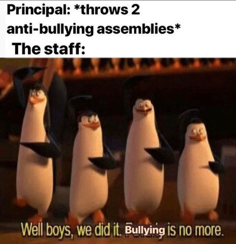 Flightless bird - Principal: *throws 2 anti-bullying assemblies* The staff: Well boys, we did it. Bullying IS no more.