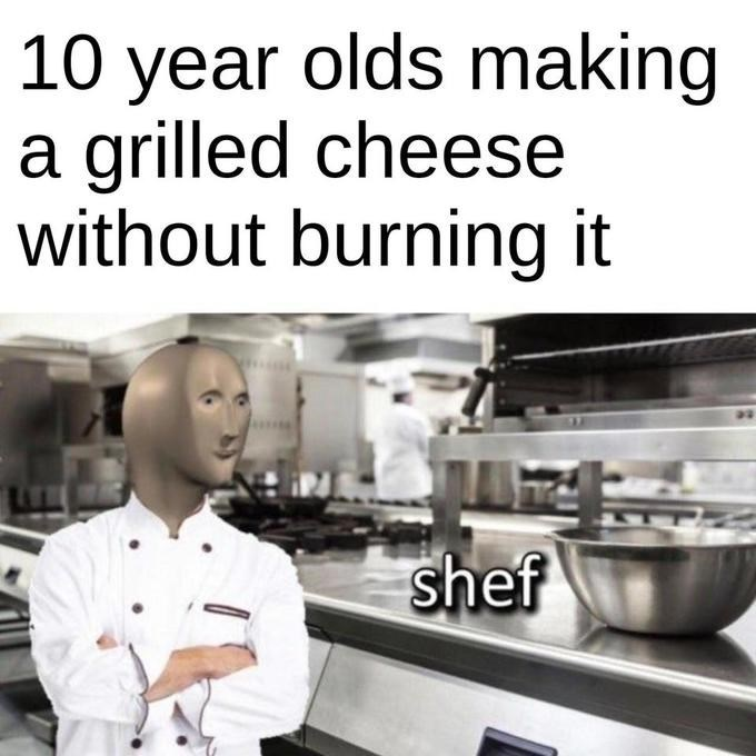 Cook - 10 year olds making a grilled cheese without burning it shef