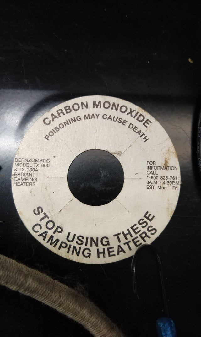 Font - MONOXIDE CARBON POISONING MAY CAUSE DEATH FOR INFORMATION CALL 1-800-828-7611 8A.M. - 4:30P.M EST Mon. - Fri. BERNZOMATIC MODEL TX-900 & TX-900A RADIANT CAMPING HEATERS STOP CAMPINONG THES