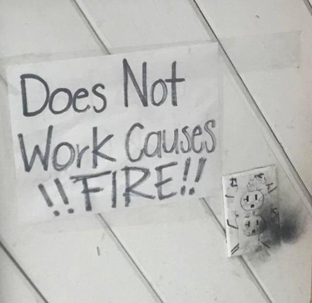 Text - Does Not Work Causes !!FIRE!!