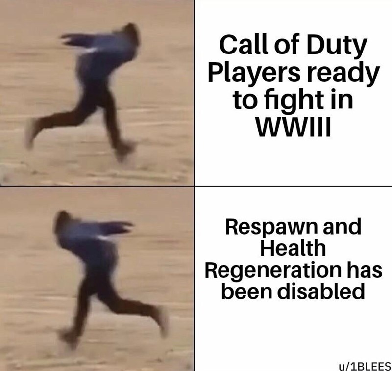 Human - Call of Duty Players ready to fight in WWII Respawn and Health Regeneration has been disabled u/1BLEES
