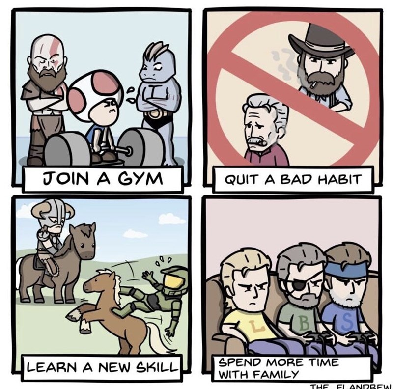 Cartoon - JOIN A GYM QUIT A BAD HABIT SPEND MORE TIME WITH FAMILY LEARN A NEW SKILL THE FIANDBEW