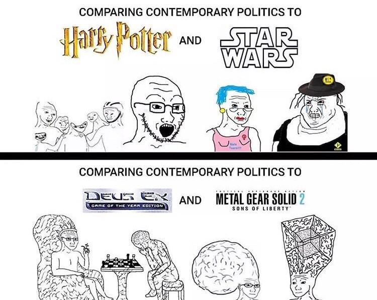 Cartoon - COMPARING CONTEMPORARY POLITICS TO Hats, Potter AND STAR WARS Male Tearat COMPARING CONTEMPORARY POLITICS TO DEUS E GAME OF THE YCAR COITION METAL GEAR SOLID 2 AND SONS OF LIBERTY