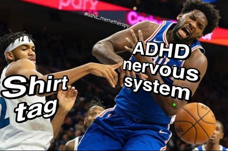 Sports - @adhdmemetherapy ADHD nervous system Shirt tag