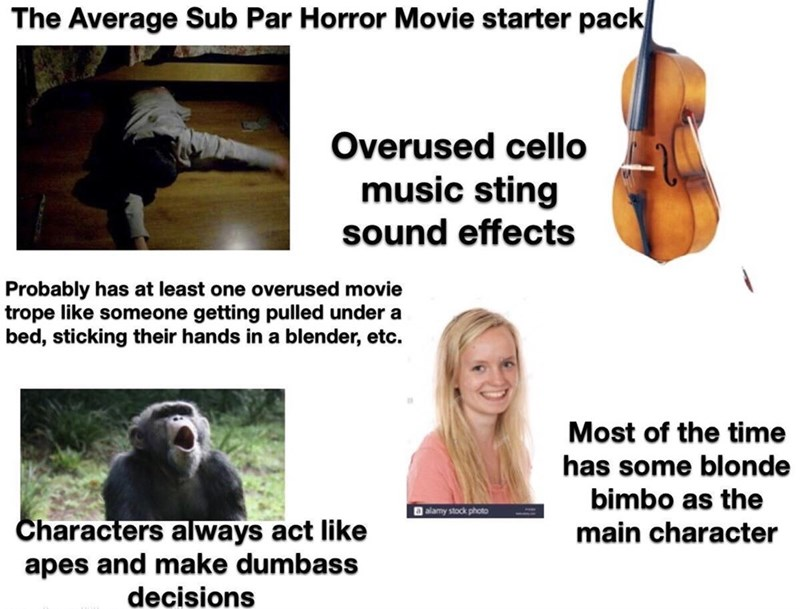 Organism - The Average Sub Par Horror Movie starter pack Overused cello music sting sound effects Probably has at least one overused movie trope like someone getting pulled under a bed, sticking their hands in a blender, etc. Most of the time has some blonde bimbo as the a alamy stock photo Characters always act like apes and make dumbass decisions main character