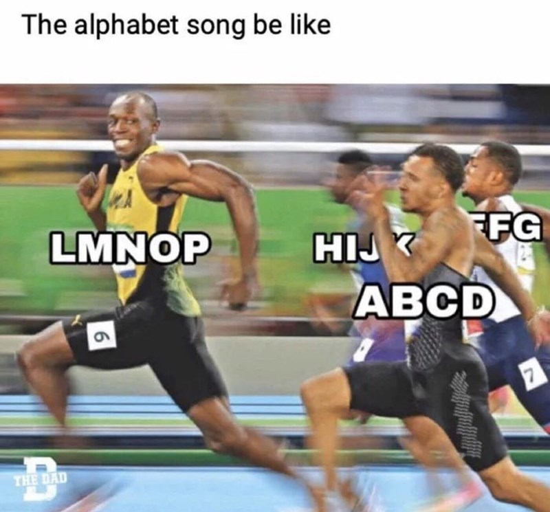 Sports - The alphabet song be like FFG LMNOP ABCD THE DAD