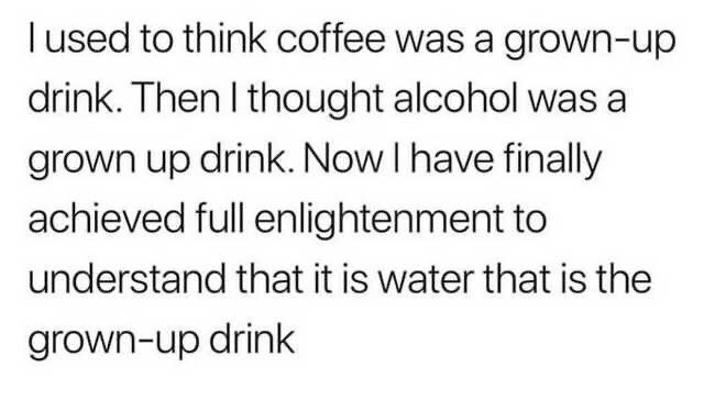 Text - Tused to think coffee was a grown-up drink. Then I thought alcohol was a grown up drink. Now I have finally achieved full enlightenment to understand that it is water that is the grown-up drink