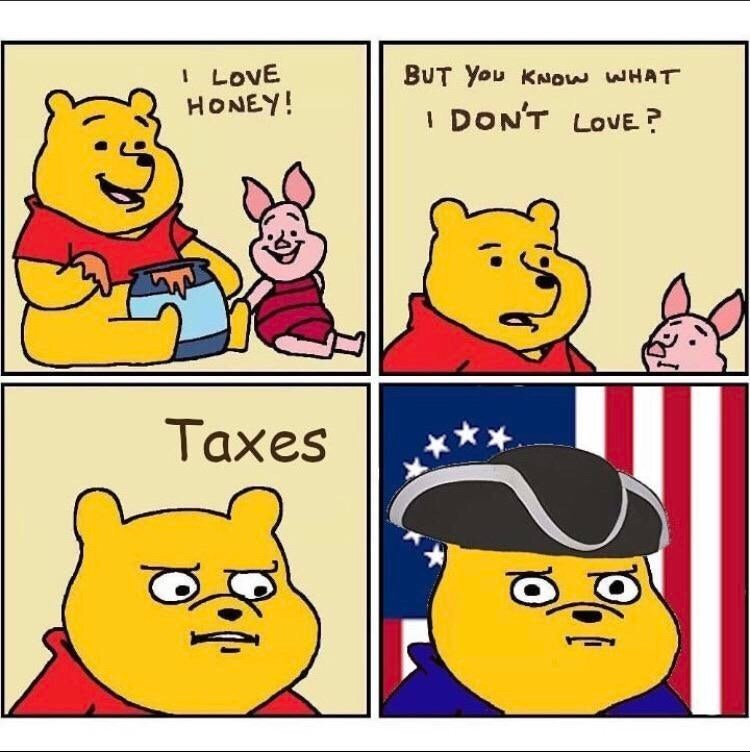 Cartoon - I LOVE HONEY! BUT You KNOW WHAT DON'T LOVE ? Taxes