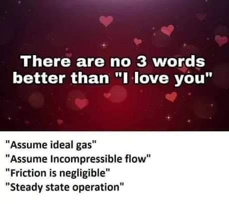 "Text - There are no 3 words better than ""I love you"" ""Assume ideal gas"" ""Assume Incompressible flow"" ""Friction is negligible"" ""Steady state operation"""
