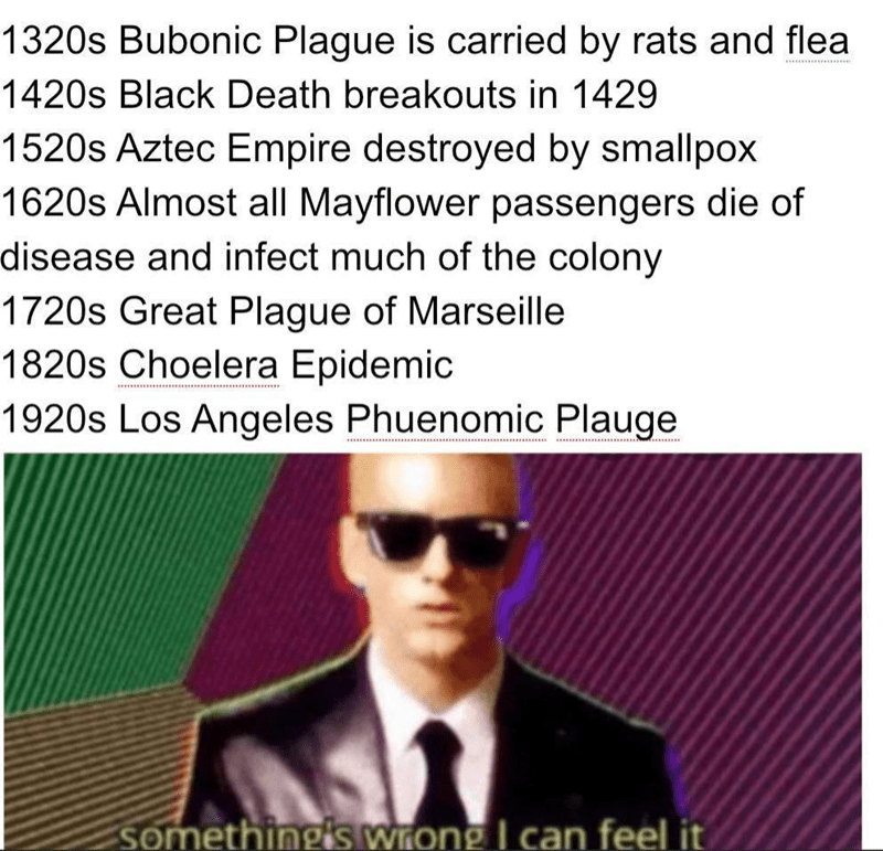 Funny meme about the potential for the Plague to come back, given its history of occurring in the '20s in past centuries; features Eminem | 1320s bubonic plague is carried by rats and flea. 1420s black death breakouts in 1429. 1520s aztec empire destroyed by smallpox. 1620 almost all mayflower passengers die of disease and infect much of the colony. 1720s great plague of marseille. 1820s choelera epidemic. 1920s los angeles phuenomic plague. something's wrong i can feel it.