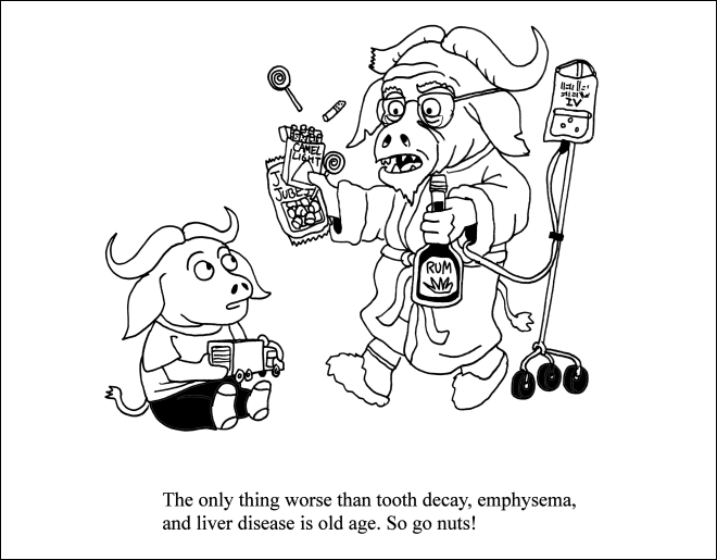 Cartoon - ZV CAMEL JUBE RUM The only thing worse than tooth decay, emphysema, and liver disease is old age. So go nuts!