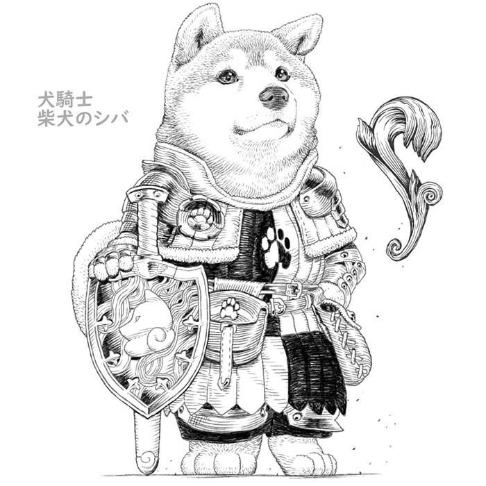 Line art - 犬騎士 柴犬のシバ