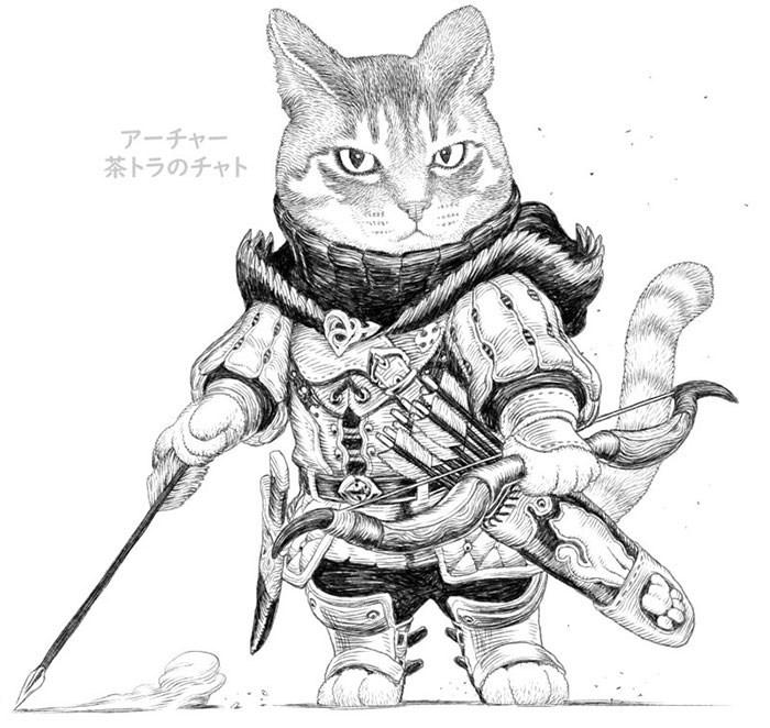 Line art - アーチャー 茶トラのチャト